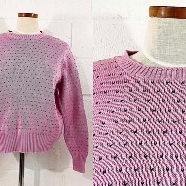 True Vintage Knit Sweater Pink Lands' End 1990s 90s Slouchy Pullover Jumper Long Sleeved Oversized Pastel Polka Dot Dotted Sleeve XL Large by CheckEngineVintage