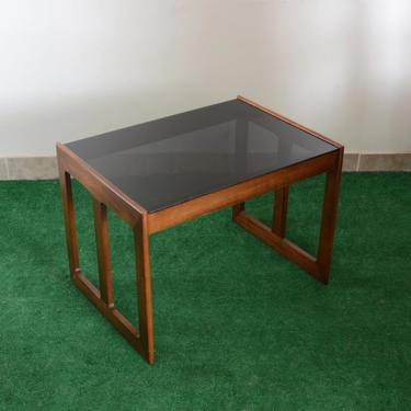 vintage wood and smoked glass modern side table by fingerlickingvintage