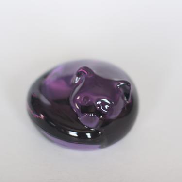 vintage art glass purple sleeping cat west germany by suesuegonzalas