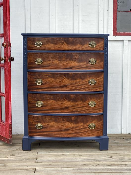 Navy and Wood Dresser