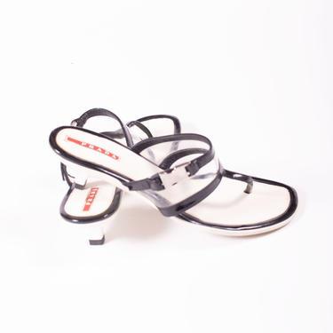 Vintage PRADA Patent Leather + Clear Vinyl Buckle Logo Slides 3z 38.5 8 Minimal Thong Kitten Heel Y2K Sandals Mules by backroomclothing