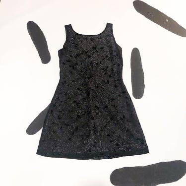 90s Black Glitter Lurex Mesh Overlay Mini Dress / Burnout / Floral / Silver / Medium / Cyber / Prom / Goth / Club Kid / 00s / y2k / Stretch by badatpettingcats