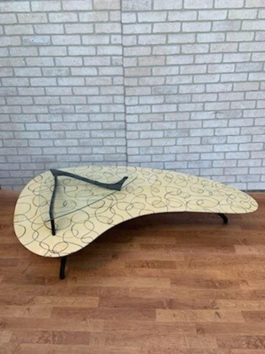 Mid Century Modern 2 Tier Biomorphic Hand painted  Vladimir Kagan Styled Boomerang Atomic Coffee Table