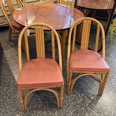 """Bamboo chairs. Cushions not perfect. 4 available 18"""" x17.5"""" x 32"""" seat height 17.5"""""""