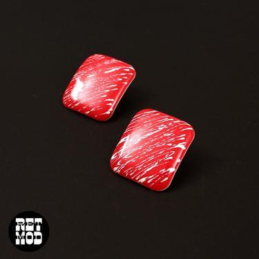 Fun Vintage 80s Red White Splatter Metal Rectangle Earrings by RETMOD