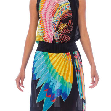 1970S Black Polyester Jersey Native American Feather & Bead Work Printed Dress Made In Italy by SHOPMORPHEW
