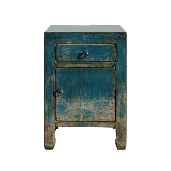 Distressed Teal Blue Lacquer Drawer End Table Nightstand cs5431S
