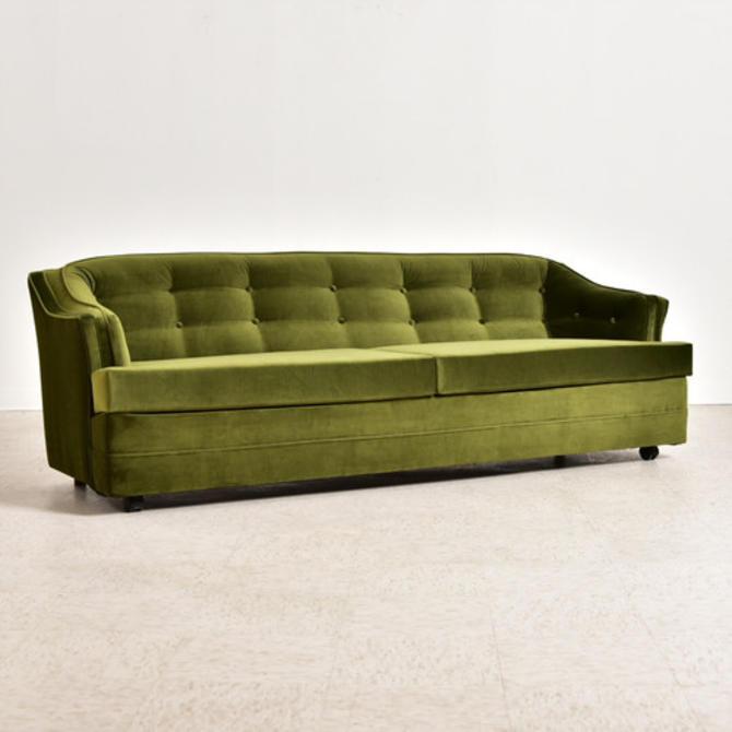 Vintage Olive Green Velvet Newly Upholstered Sofa