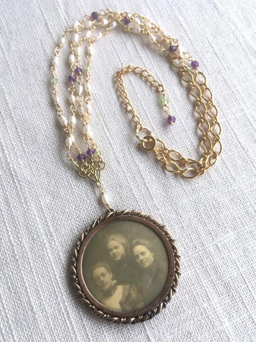 Sister Suffragette [assemblage necklace: antique photo pendant, pearl, amethyst, peridot, vintage chain] by nonasuch