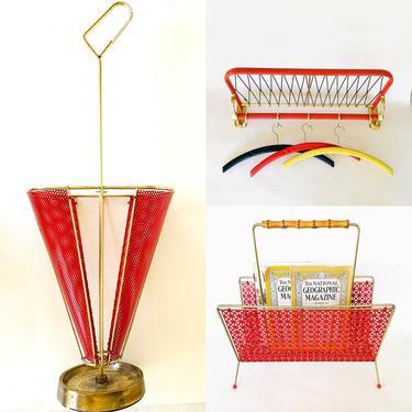 Amazing Mid Century Set in Red, Magazine Rack, Vintage Coat Rack, Vintage Umbrella Holder, Red Magazine Rack, Metal Newspaper Stand 50s 60s by dadacat