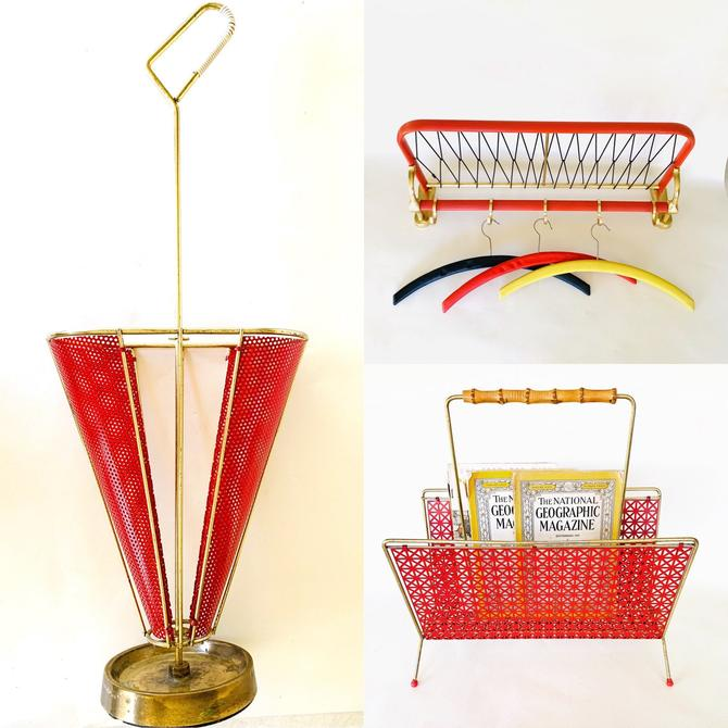 Amazing Mid Century Set in Red, Magazine Rack, Vintage Coat Rack, Vintage Umbrella Holder, Red Magazine Rack, Metal Newspaper Stand 50s 60s by dadacat