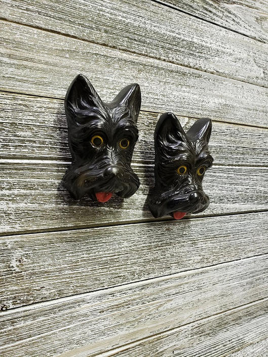 Vintage Chalkware Scottie Dogs Wall Hanging, Scotty Dog, Vintage Black Scottish Terriers, Dog Lover Gift, Retro Dog Decor Vintage Wall Decor by AGoGoVintage
