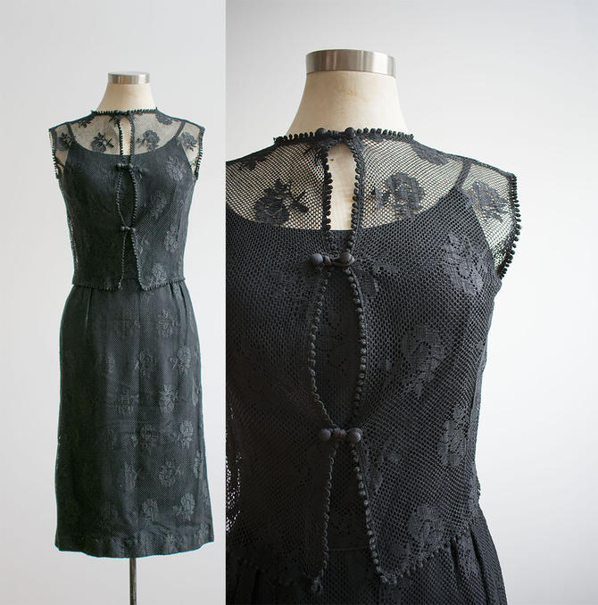 1960s Black Cocktail Dress / 2pc Vintage Dress and Jacket / Vintage Cocktail Dress / Black Cocktail Dress / Black Eyelet Lace dress XS by milkandice