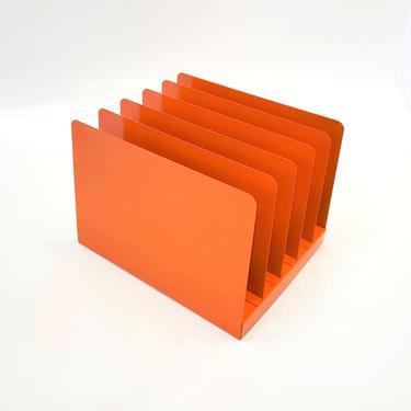 Desk Office Organizer Mail Sorter Letter Holder Orange Decor Inbox Bill Slot File Box Metal Desktop Filing System Home Business Vintage by MakingMidCenturyMod