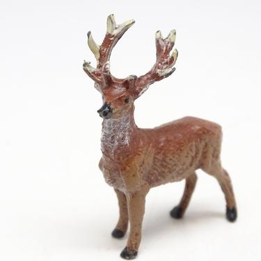 Small Antique German Lead Reindeer Hand Painted, Deer for Christmas Putz or Nativity, Vintage Retro Decor by exploremag