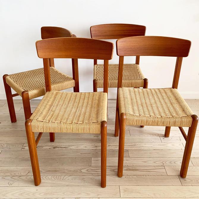 Set of 4 Mid Century Teak Danish-Cord Dining Chairs