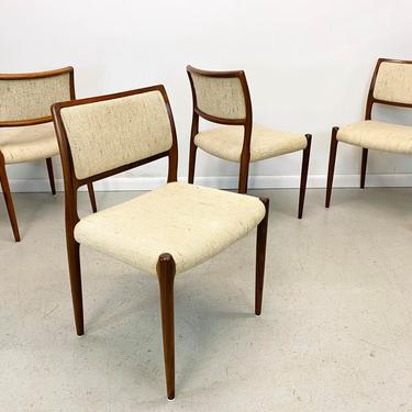 mid century Danish modern rosewood & oatmeal tweed, #80 dining chairs by Niels Moller for JL Moller by AtomicJunkiesGallery