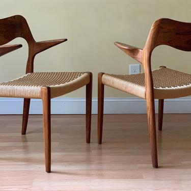 TWO Moller Model #55 Dining armChairs, in Rosewood and Danish Paper Cord, dining chairs, desk chairs, bedroom chairs by ASISisNOTgoodENOUGH