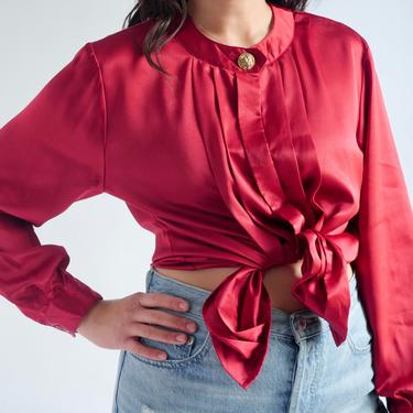 Red Satin Blouse fits S - L 1980's by BeggarsBanquet