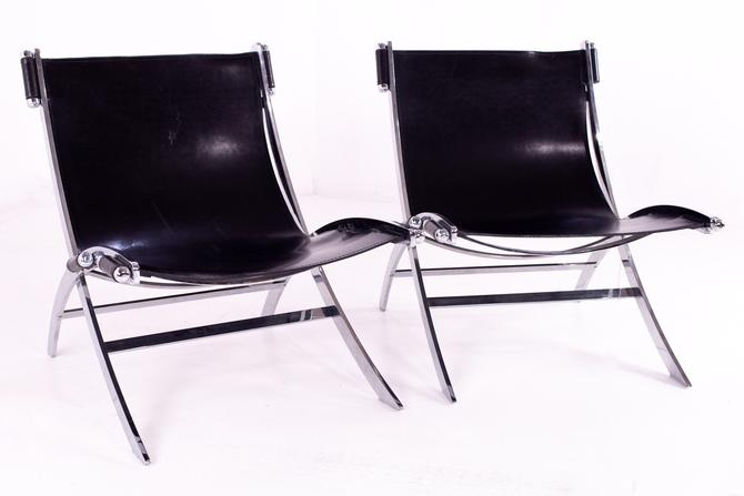 Paul Tuttle for Flexform Mid Century Black Leather and Chrome Lounge Chairs - Pair - mcm by ModernHill