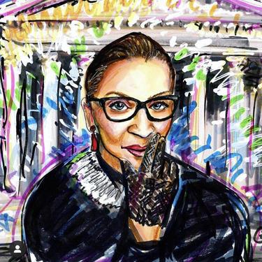 Ruth Bader Ginsburg Mixed Media Giclee Portrait by Cris Clapp Logan by CrisLoganArt