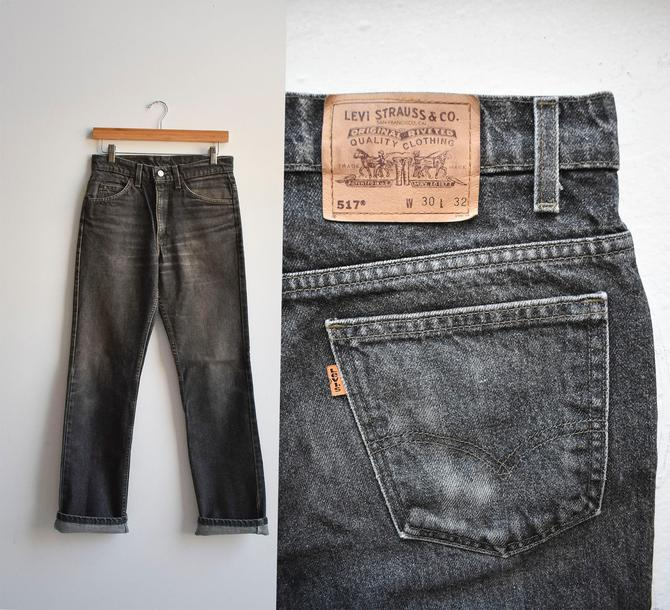 Vintage Faded Black Levis 517s Jeans 30x31 by milkandice