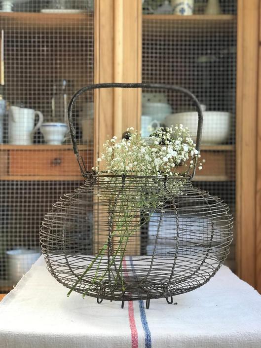 Huge primitive farmhouse vintage French egg basket by Grainsacfrenchvintag