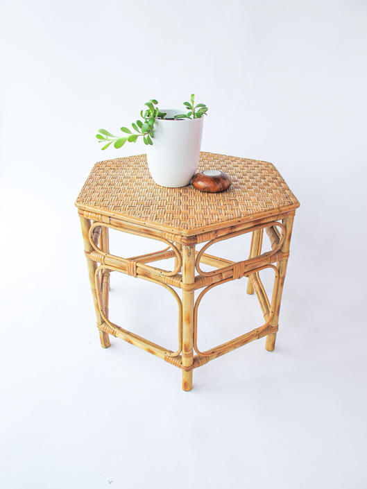 Vintage Woven Rattan and Bamboo Hexagon Side Table/Plant Stand by PortlandRevibe