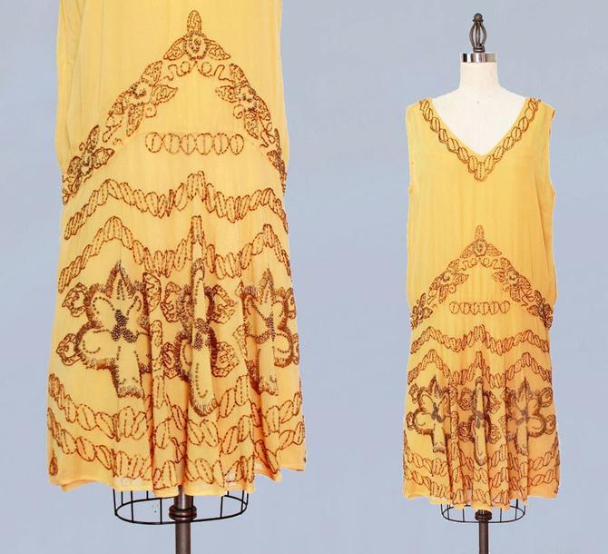 1920s Dress / 20s Flapper Dress BEADED Silk Chiffon / M L by GuermantesVintage