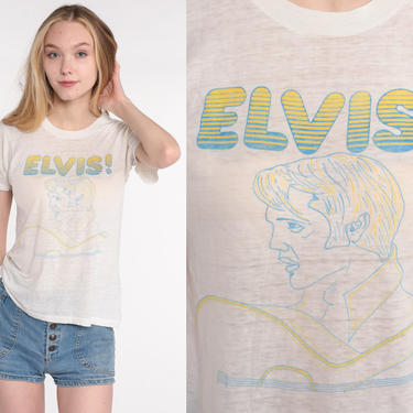Vintage Elvis T Shirt 70s Elvis Presley Shirt Graphic Tshirt Band Rock n Roll 1970s Retro Graphic Tee Single Stitch Paper Thin Small by ShopExile