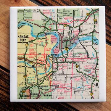 1972 Kansas City Vintage Map Coaster - Ceramic Tile - Repurposed 1970s Rand McNally Atlas - Handmade - Kansas and Missouri by allmappedout