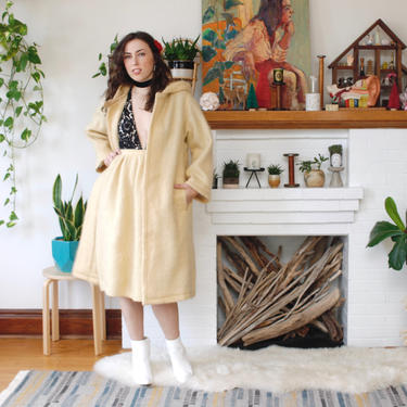 Vintage 1960s French Mohair Jacket & Skirt Set - Beige Tan Hooded Jacket and Skirt - S by SecondShiftVintage