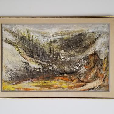 """1970s """"Valley"""" Expressionist Style Landscape Oil Painting by Charlotte Ross, Framed. by MIAMIVINTAGEDECOR"""