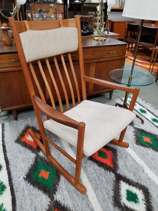 Danish Modern teak rocking chair by Tarm Stole