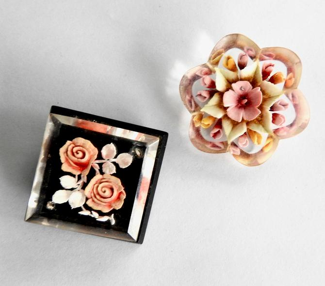 Two Reverse Carved Lucite Flower Brooches by LegendaryBeast