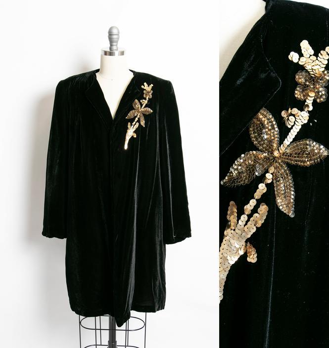 Vintage 1940s Jacket Black Velvet Sequin Gold Swing Coat S / M by dejavintageboutique