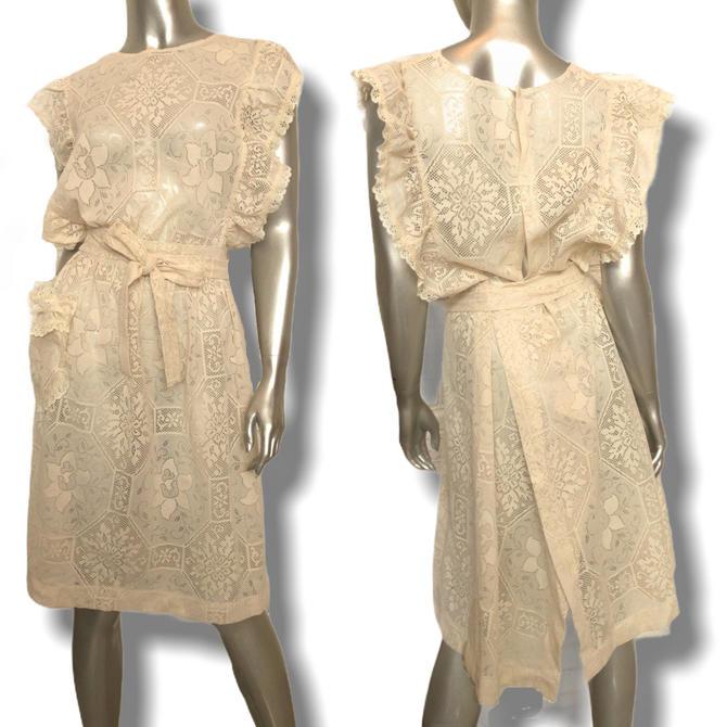 Vintage Cream Lace Apron Dress Size m/l 1970's Wrap Dress by TheUnapologeticSoul
