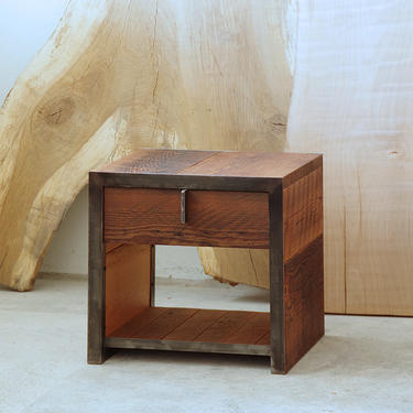 night stand from reclaimed wood and steel - with drawer - salvaged fir, recycled steel - end table, coffee, ottoman - modern vernacular by birdloft