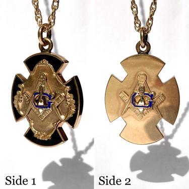 Antique Gold Filled Onyx & Enamel Masonic Cross Fob Pendant, Victorian Edwardian by templeofvintage