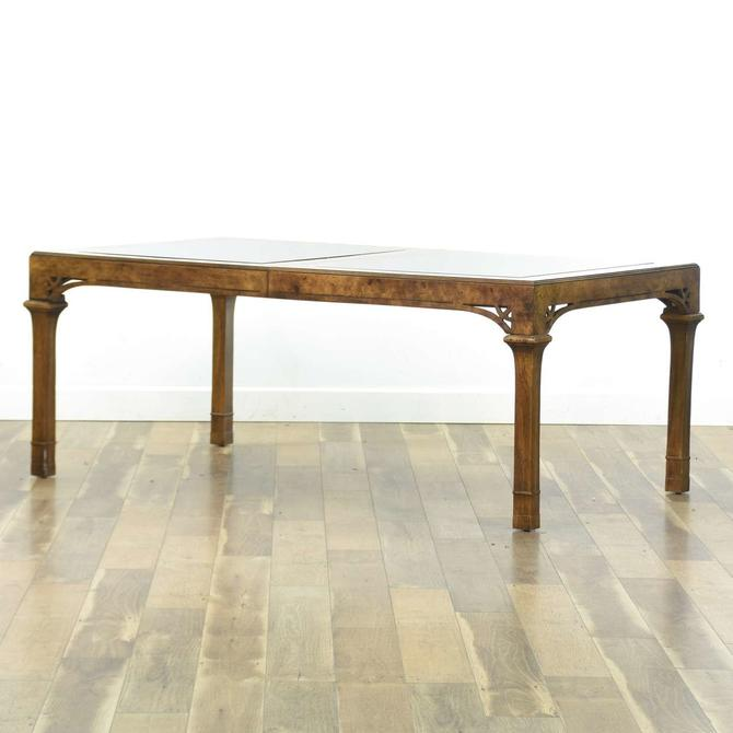 American Of Martinsville Pecan Dining Table W Glass