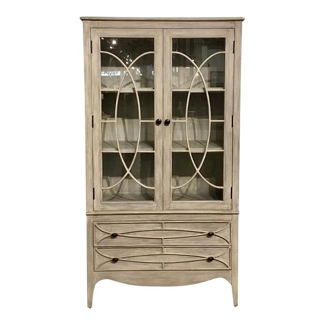 Transitional White Washed Gray Wood and Glass Display Cabinet