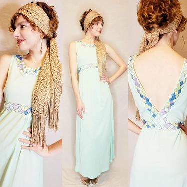 1960s Emilio Pucci Formfit Rogers Nightgown with Harlequin Diamon Pattern Trim Aqua Blue Nylon Jersey / 60s Designer Slip Dress Open Back M by RareJuleVintage