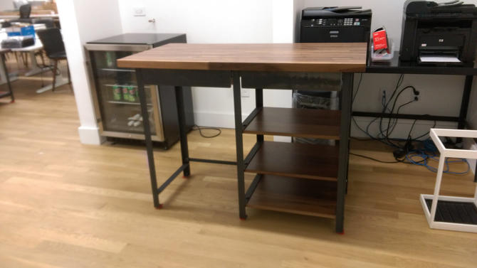 Walnut Industrial Engineering Work Station Desk Table with shelves by CamposIronWorks