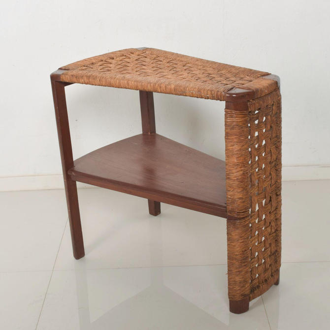 Michael Van Buren Vintage Side Wedge Table in Mahogany Wood Woven Rope Cord by AMBIANIC