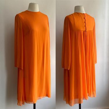 Lovely Vintage 60's SILK CHIFFON Babydoll Dress / LANZ / Minimalist Style by CharmVintageBoutique