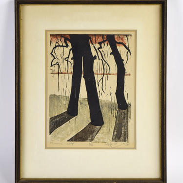 1954 Mid-Century Modern Japanese? Woodblock Print Long Shadow Trees signed #'d by PrairielandArt