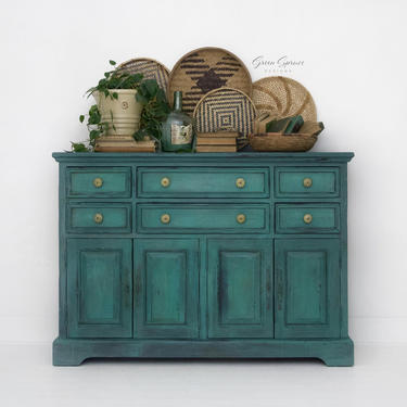 Turquoise Sideboard, TV Console Table, Painted Cabinet by GreenSpruceDesigns