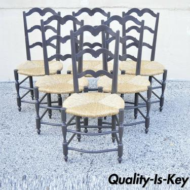 Vintage French Country Provincial Ladder Back Rush Seat Dining Chairs - Set of 6