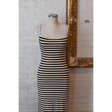 1990's | Moschino | Black and Cream Striped Maxi Dress by LadyofLizard