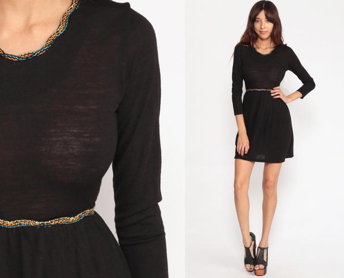 e753bd03e118 Black Mini Dress 70s Mod Long Sleeve SHEER Dress Boho Hippie 1970s LBD Little  Black Dress